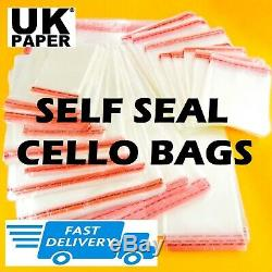 Clear Cello Bag Cellophane Plastic Self Seal Large Small Sweet Card Craft Cookie
