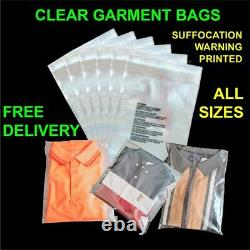 Clear Garment bags cello plastic self seal packaging for Clothing T-Shirts etc