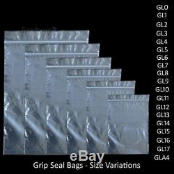 Clear Grip Self Press Seal Resealable Poly Polythene Zip Lock Plastic Bags