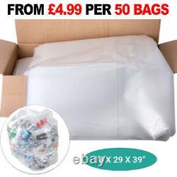 Clear HEAVY DUTY 160 GAUGE Refuse Sacks / Bags Strong Bin Liners Rubbish Bag