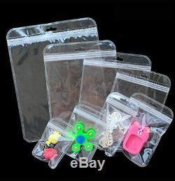 Clear Plastic Bag Zip Lock Data Line PVC Jewelry Hang Hole Packing Grade Pouches