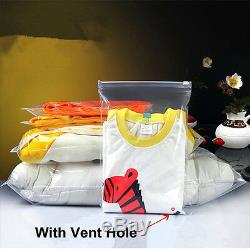 Clear Plastic Storage Packaging Bags for Zip Vent Hole Lock Clothes Travel Bag