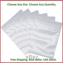 Clear Plastic Zipper Poly Locking Reclosable Bags 2 MIL Any Size 100 10000