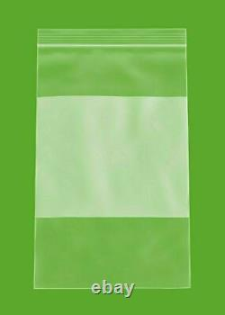 Clear Reclosable Bags 5x8 4 Mil Plastic Polybags with WhiteBlock 4000 Pieces