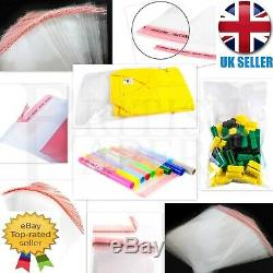 Clear Self Adhesive Seal Cellophane Plastic Bags Wrap Garment Small Large Sweets