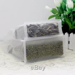 Clear Zipper Resealable Plastic Pouches Stand Up Matte Food Poly Side Gusset Bag