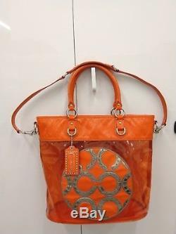 Coach 15021 Transparent Clear Orange-Red Tote Colette Rare Plastic Beach Bag