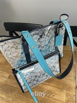 Coach Ferry Clear Canvas Tote With Matching Mini Bag Baby Blue / Black Leather