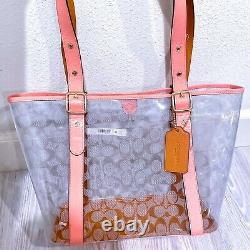 Coach Ferry tote bag clear canvas Totebag 2564 Pink lemonade Champagne PVC