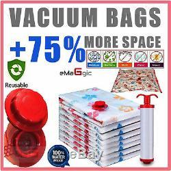Emaggic 6 X VACUUM STORAGE BAGS, 3 LARGE(100x70cm)3 MEDIUM (50x70cm) VACUM BAG