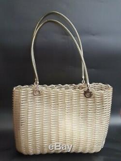 FERRAGAMO Bag. Salvatore Ferragamo Vintage Transparent and Silver Woven Gancini