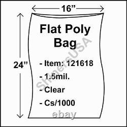 Flat Poly Plastic Bag 1.5-mil 16x24 cs/1000 Clear Packaging Heat Seal FDA 121618