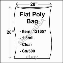 Flat Poly Plastic Bag 1.5-mil 28x28 cs/500 Clear Packaging Heat Seal FDA 121657