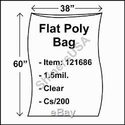 Flat Poly Plastic Bag 1.5-mil 38x60 cs/200 Clear Packaging Heat Seal FDA 121686