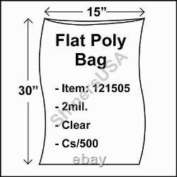 Flat Poly Plastic Bag 2-mil 15x30 cs/500 Clear Packaging Heat Seal FDA 121505