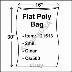 Flat Poly Plastic Bag 2-mil 16x30 cs/500 Clear Packaging Heat Seal FDA 121513