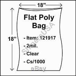 Flat Poly Plastic Bag 2-mil 18x18 cs/1000 Clear Packaging Heat Seal FDA 121917