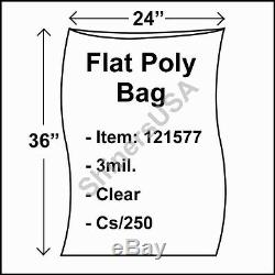 Flat Poly Plastic Bag 3-mil 24x36 cs/250 Clear Packaging Heat Seal FDA 121577