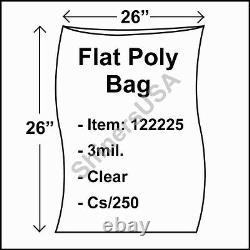 Flat Poly Plastic Bag 3-mil 26x26 cs/250 Clear Packaging Heat Seal FDA 122225