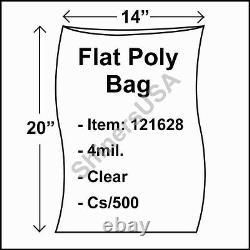 Flat Poly Plastic Bag 4-mil 14x20 cs/500 Clear Packaging Heat Seal FDA 121628