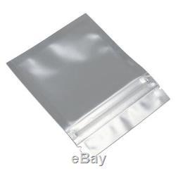 Front Clear Back Matte Black Aluminum Foil & Plastic Zip Lock Bag Storage Pouch