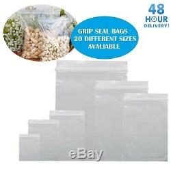 GRIP SEAL BAGS Self Resealable Clear Polythene Poly Plastic Zip Lock All Sizes