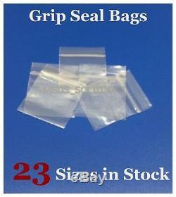 GRIP SEAL CLEAR BAGS SELF RESEALABLE MINI POLY PLASTIC BAGGIES ZIP LOCK AllSizes