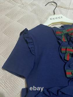 GUCCI Girls Viscose Blue Dress Age 5 With Hanger And Plastic Clear Dust Bag