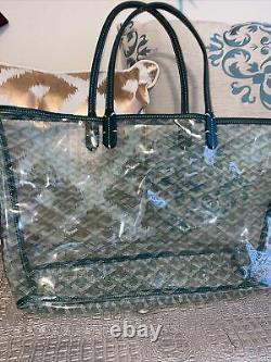 Goyard-Look Green Clear Transparent Tote Bag Genuine Leather/ PVC XL