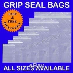 Grip Seal Resealable Clear Poly Plastic Bags SIZES IN INCHES Cheapest Quick Del