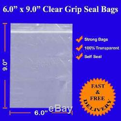 Grip Seal Resealable Self Seal Clear Poly Plastic Bag 6 x 9 for A5 Size Cheapest