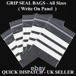 Grip seal plastic bags Plain Write on Panel Heavy Duty All Sizes Types New Stock