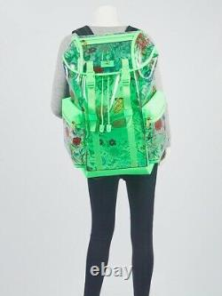 Gucci Green Leather Clear PVC Floral Print XL Backpack Bag