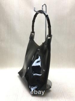 Gucci Plastic Bamboo Handle Clear Bag Handbag Pvc Blk 10353