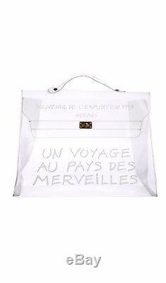 HERMES Kelly 40 Hand Bag Vinyl Clear Plastic L'exposition 1997 Vintage Authentic