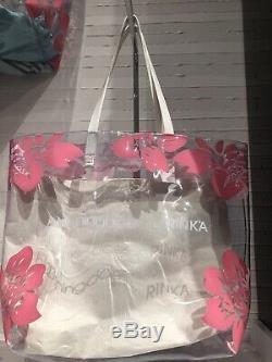 Hawaii BLOOMINGDALES Big Brown Rinka Hawaii Clear Pink Flower Bag Vinyl