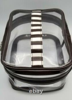 Henri Bendel Cosmetic Bag Travel Train Case Brown White Stripe & Sleep Mask