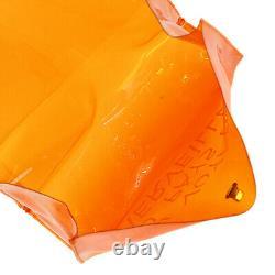Hermes Vinyl Kelly Orange Handbag Women'S Clear Beach Bag Plastic Bags No. 8954