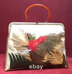 Huge Vintage 50s 60s Clear Vinyl Purse Hand Bag Large Bakelite Bird