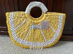 Kate Spade Lemon Slice Medium Tote Bag Purse Woven Wicker Yellow White NWT