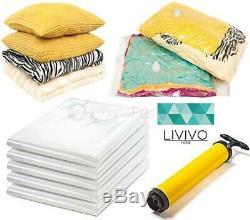 LIVIVO 12 JUMBO VACUUM STORAGE BAGS COMPRESSED CLOTHES SPACE W PUMP 100 x 75cm