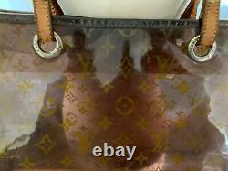 Louis Vuitton Monogram Brown Clear Plastic Large Tote Bag with leather strap