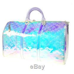 Louis Vuitton Prism Keepall 50 2way Travel Bag Clear Virgil Abloh M53271 K08926