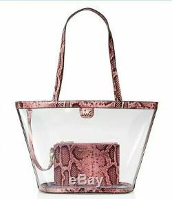 MICHAEL KORS Medium Clear Rita Bucket Tote Bag Carnation Pink/Gold