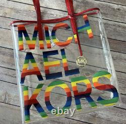 MICHAEL KORS Rainbow Large Graphic Logo Print Clear Transparent Tote Bag
