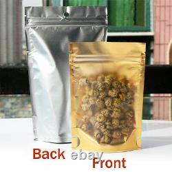 Matte Clear Gold Aluminum Foil Mylar Stand Up Retail Bags Self Seal Food Pouches
