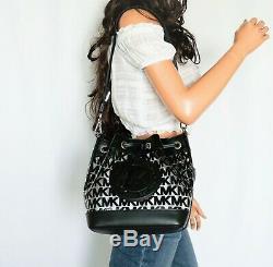Michael Kors Fulton Sport Medium Bucket Messenger Clear Plastic Bag Mk Black