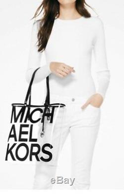 Michael Kors Large North South Black/clear Beach bag Tote NWT FABULOUS