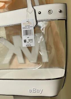 Michael Kors Moutauk Clear Large Summer Beach Tote Bag in Optic White