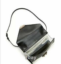 Michael Kors Sloan Clear Medium Double Flap Leather Satchel Bag